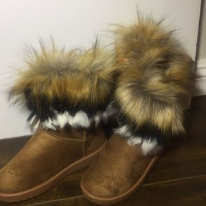 Women's brown faux fur unbranded boots (37)